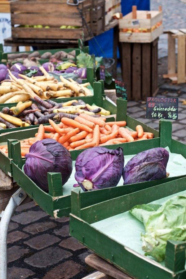 Økologi, friske øko-grøntsager på Torvet i Odense