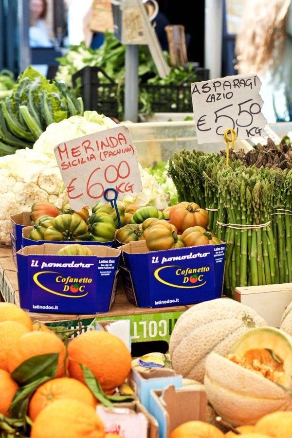 Ferie i Rom, Campo de' Fiori, Friske grøntsager