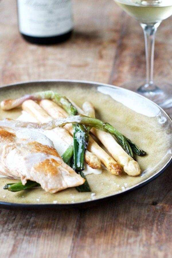 Kyllingebryst sous vide med hvide asparges og parmesansauce, Opskrift