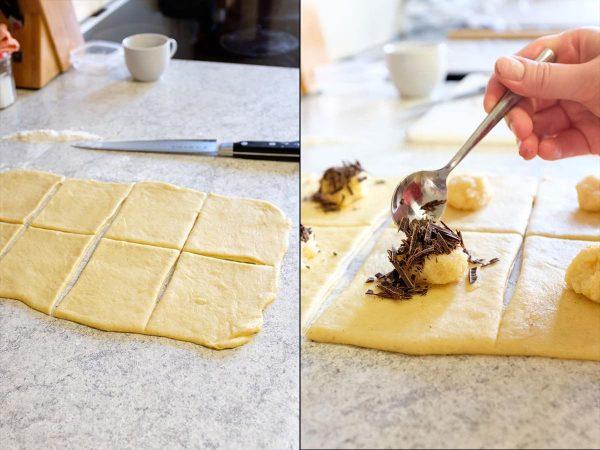 Remonce og chokolade lægges på dejen