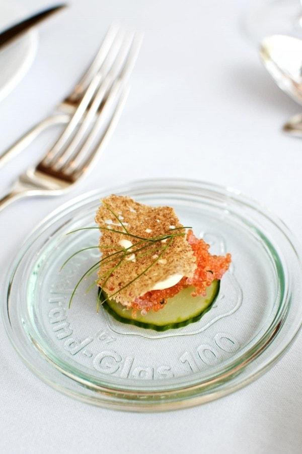 Restaurant Lieffroy - Syltet agurk, stenbiderrogn, sennepsmayo og toast
